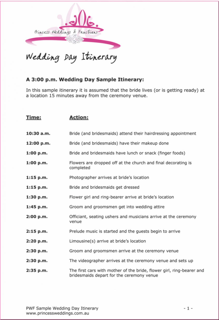 015 free wedding ceremony itinerary bridal parties festival wedding party itinerary template doc