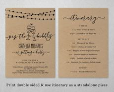 bachelorette weekend invitation & itinerary template pop the bachelorette weekend itinerary template