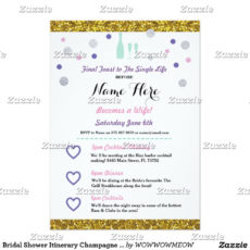 bridal shower itinerary champagne invitation  zazzle bridal shower itinerary template doc