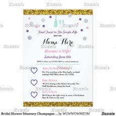 bridal shower itinerary champagne invitation  zazzle bridal shower itinerary template doc