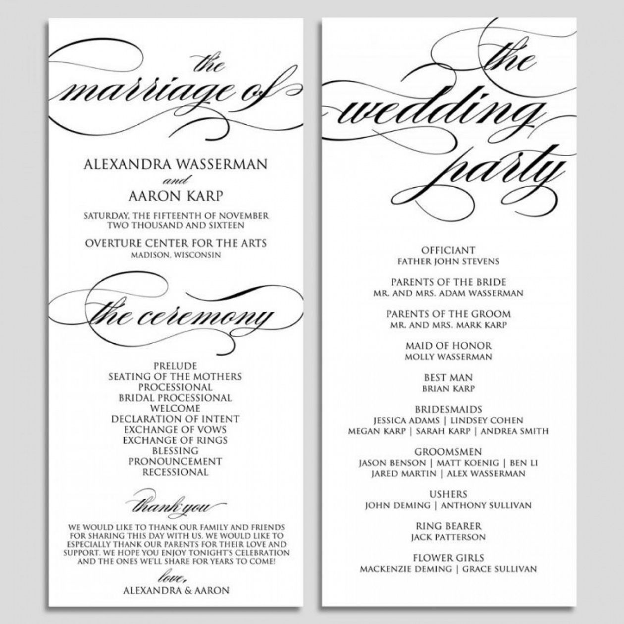 editable 035 amazing wedding ceremony programs template and program wedding ceremony itinerary template doc