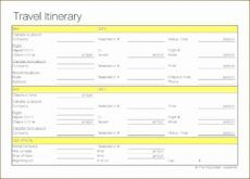 editable executive assistant travel itinerary template  itinerary in travel agent itinerary template doc