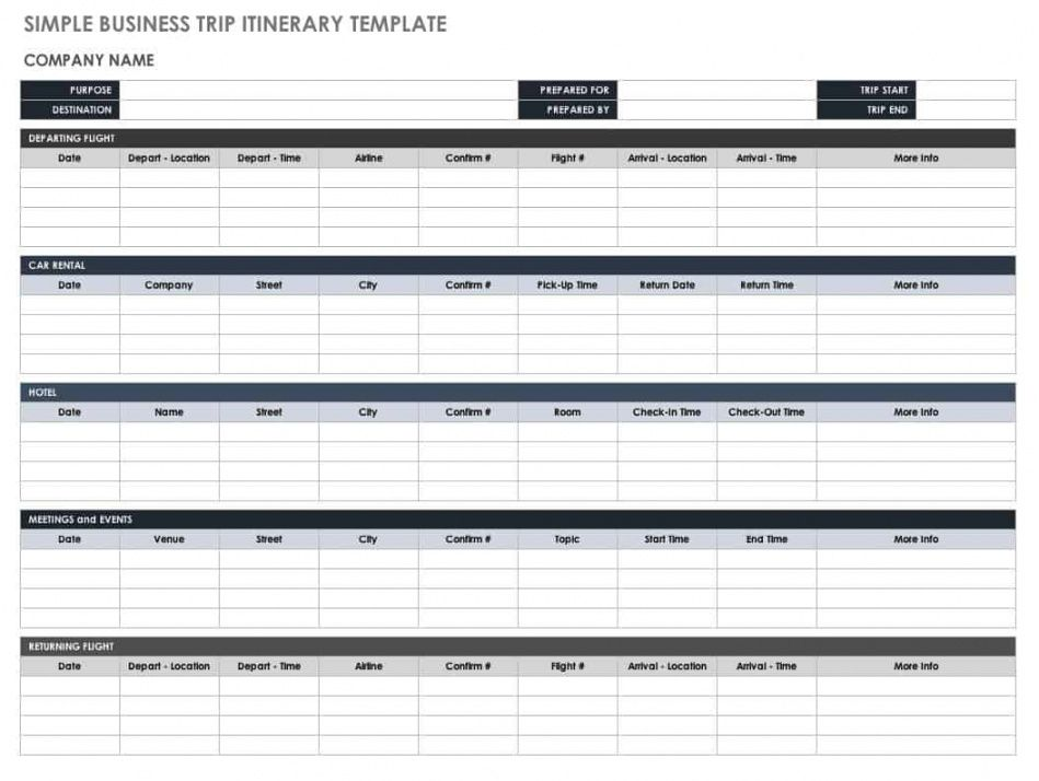 editable free itinerary templates  smartsheet professional travel itinerary template doc