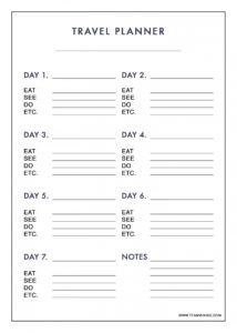 editable free printable 7 day travel planner use to plan outfits day by day travel itinerary template
