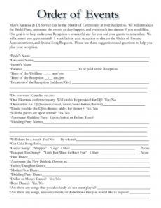 editable order of events for wedding dj  wedding reception timeline wedding reception itinerary template excel