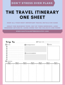 editable travel itinerary template  family travel planner fun travel itinerary template pdf