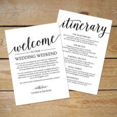 editable wedding itinerary template  printable wedding welcome wedding welcome bag itinerary template doc
