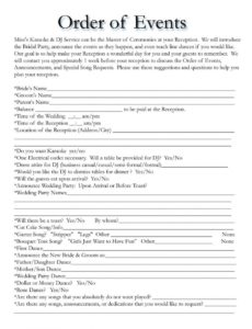 editable wedding itinerary templates free  wedding template wedding welcome itinerary template example