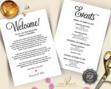 editable wedding welcome and itinerary card editable pdf template destination wedding weekend itinerary template