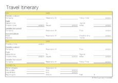 free free printable  travel itinerary  travel itinerary school trip itinerary template excel