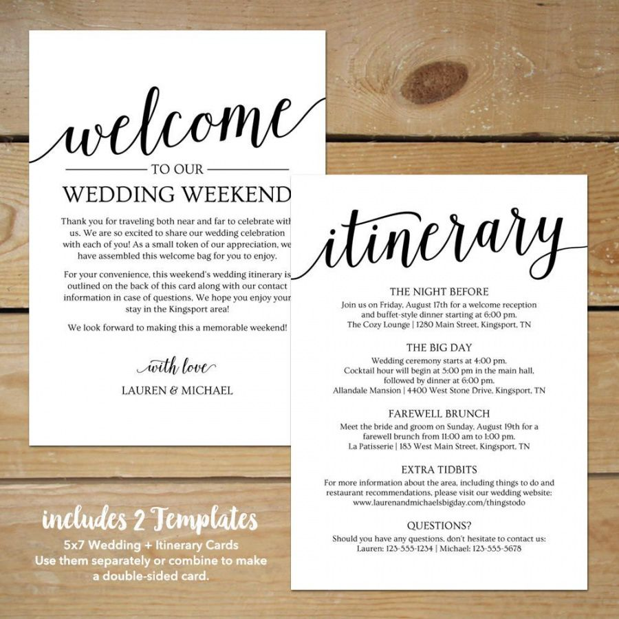 free rustic wedding itinerary template  printable wedding wedding welcome bag itinerary template excel