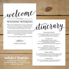 free rustic wedding itinerary template  printable wedding wedding welcome itinerary template pdf