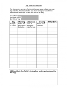free vacation itenerary template  trip itinerary template school trip itinerary template