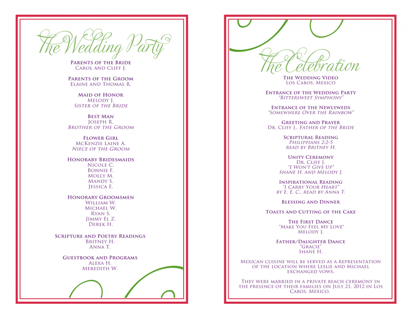 free wedding itinerary templates free  wedding reception wedding reception itinerary template pdf