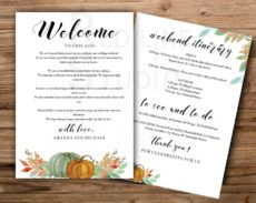 sample autumn pumpkins weekend itinerary template autumn wedding wedding welcome bag itinerary template example