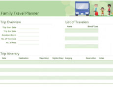 sample family travel planner  office templates & themes  office 365 vacation itinerary planner template word