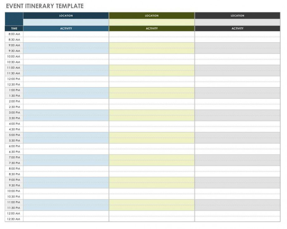 sample free itinerary templates  smartsheet group travel itinerary template word
