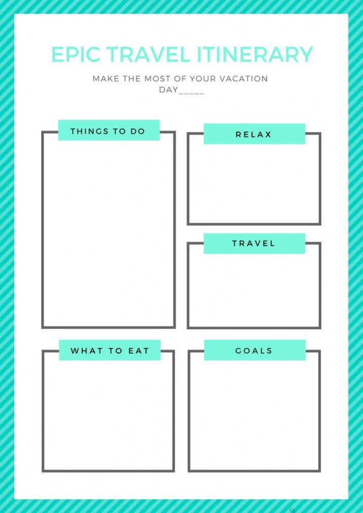 sample template for you to make a daily epic travel itinerary daily vacation itinerary template doc