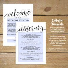 sample wedding itinerary template  printable wedding welcome wedding welcome bag itinerary template excel