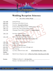 sample wedding reception itinerary template  3 free templates in wedding reception itinerary template pdf