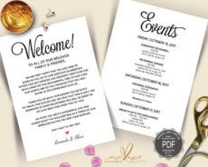 wedding welcome and itinerary card editable pdf template wedding welcome itinerary template