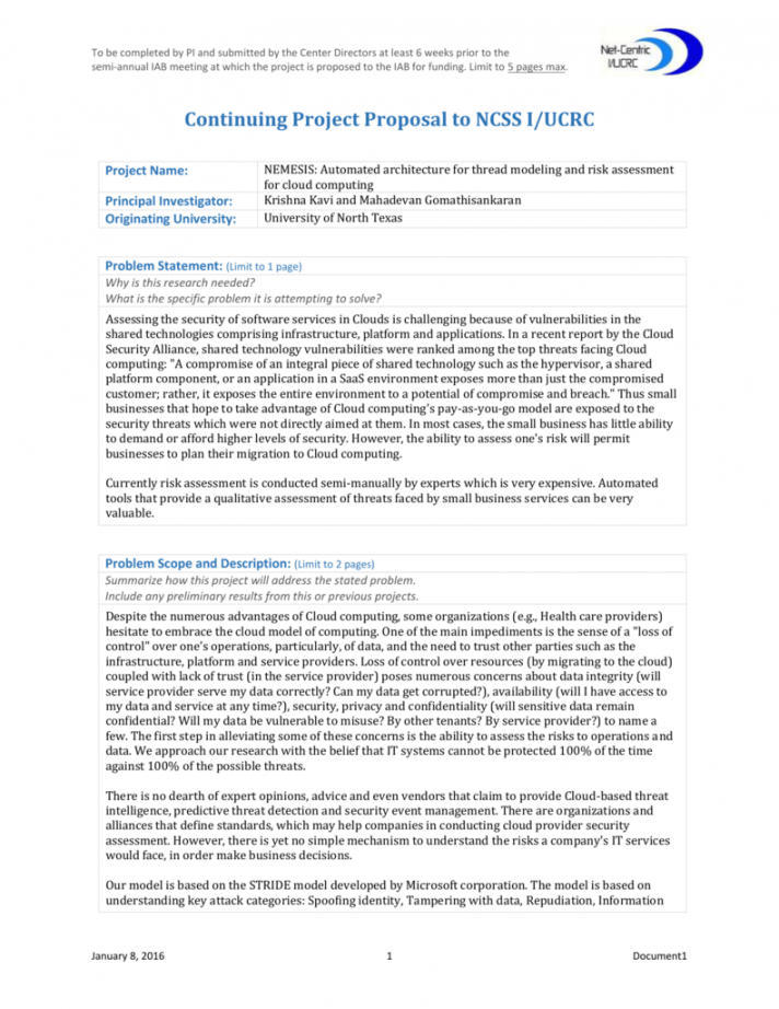 free continuing project proposal 5pager template  rev security assessment proposal template pdf