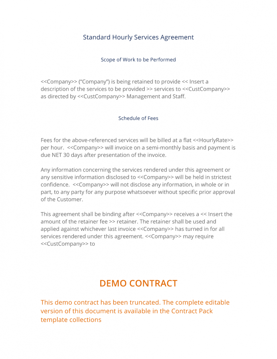free hourly services agreement  3 easy steps service contract proposal template doc
