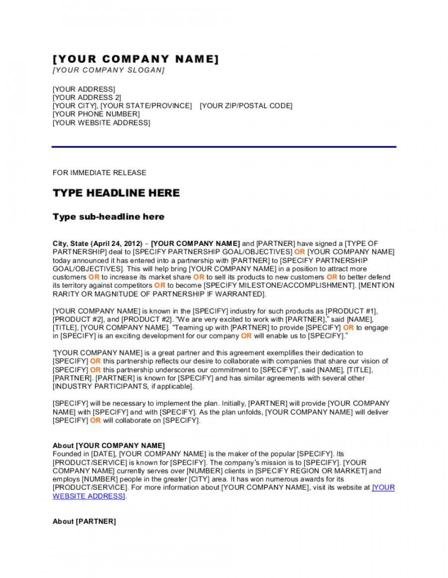 press release new partnershipcollaboration template  by collaboration proposal template pdf