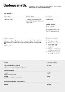 printable graphic design invoice template  edit & free download  bonsai logo design bid proposal template example