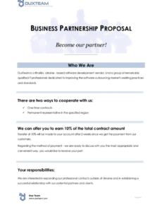 sample 12 business partnership proposal examples in pdf  ms word business partner proposal template pdf