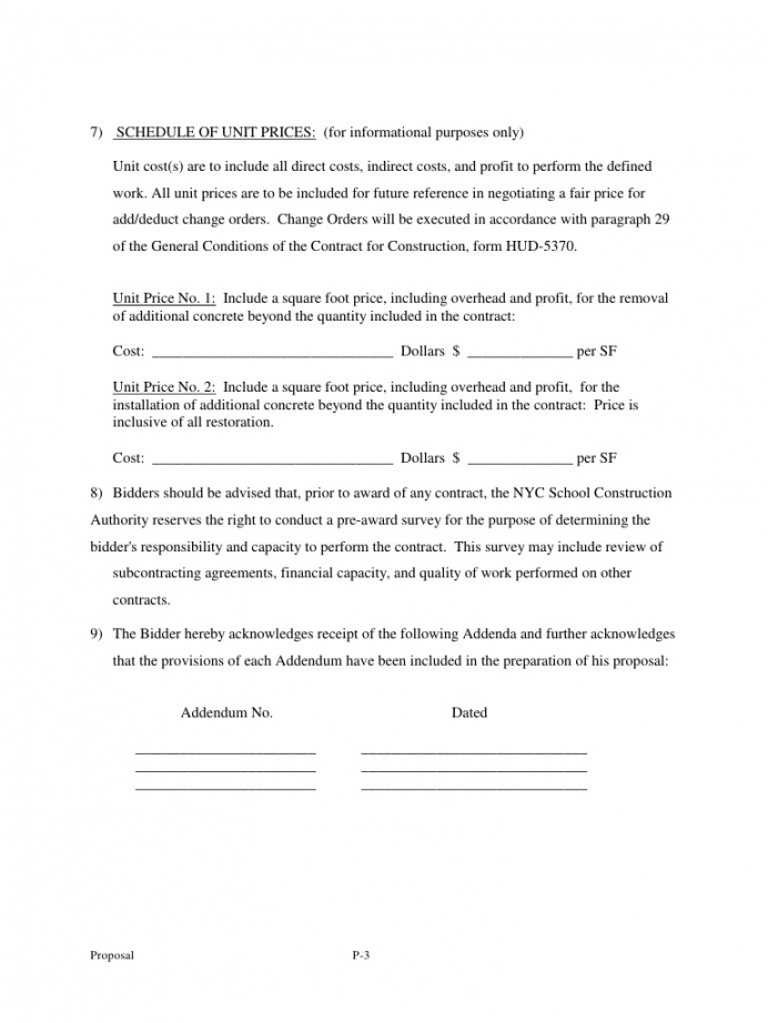 sample sample bid  proposal form by kenneth o'connor  bid security assessment proposal template