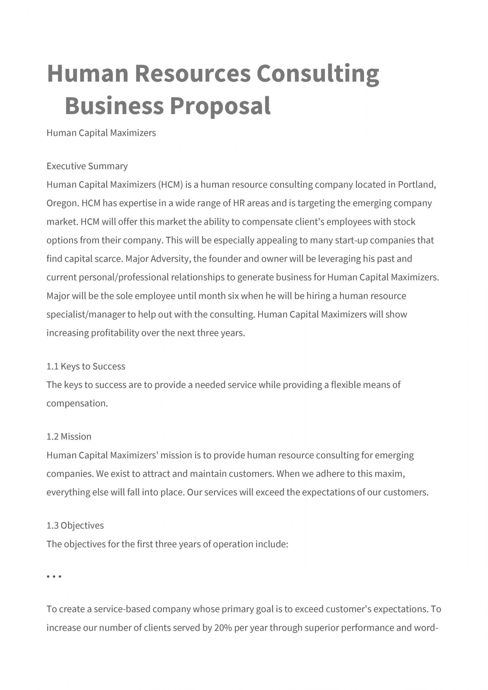 39 best consulting proposal templates free  templatelab human resources consulting proposal template word
