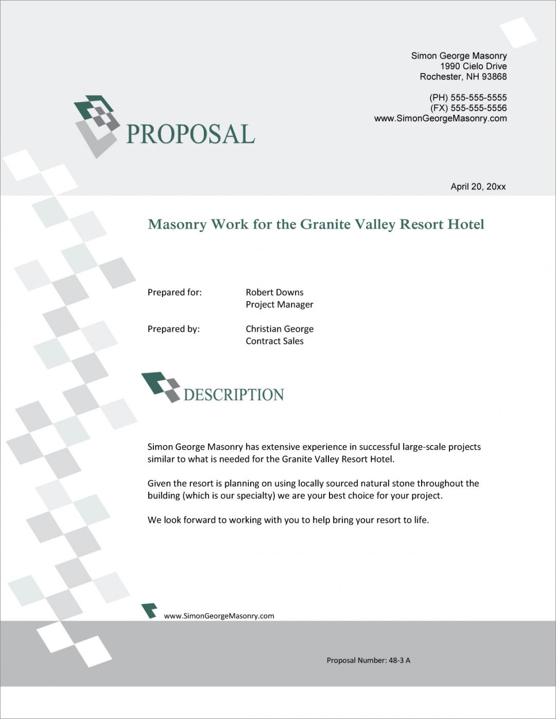 editable masonry contracting services sample proposal  5 steps masonry bid proposal template word