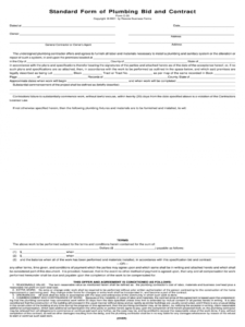 editable plumbing estimate template  fill online printable plumbing bid proposal template word