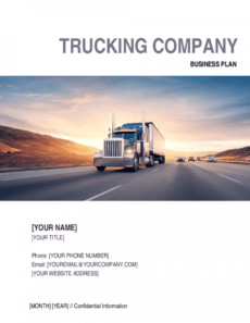 editable trucking company business plan template  by businessinabox™ trucking proposal template excel