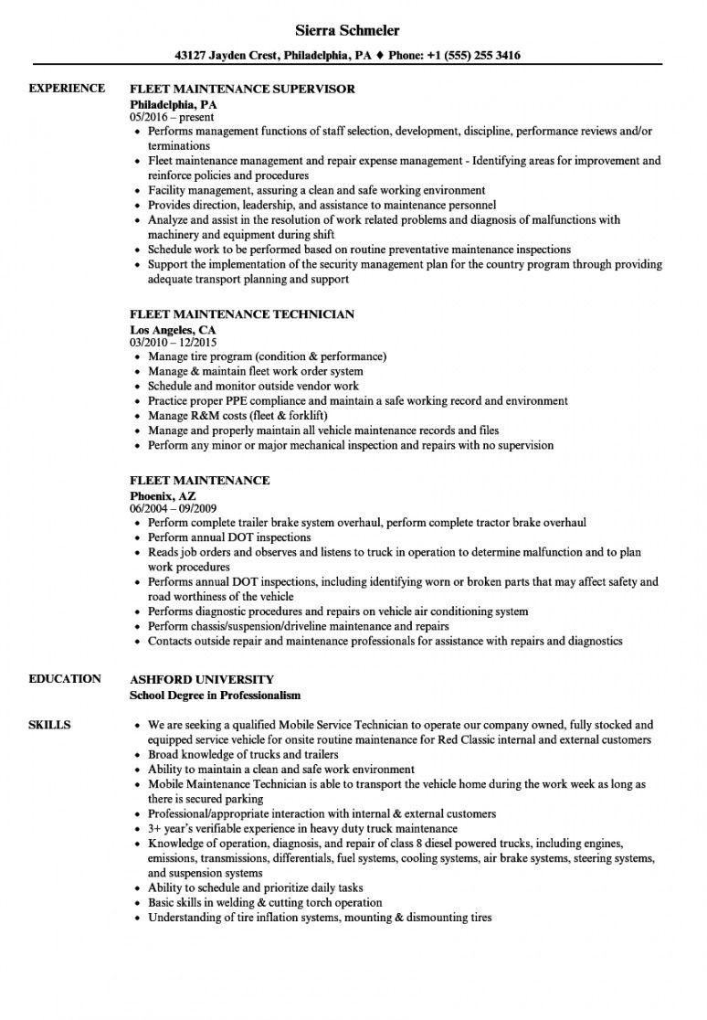 fleet maintenance resume samples  velvet jobs fleet management proposal template doc