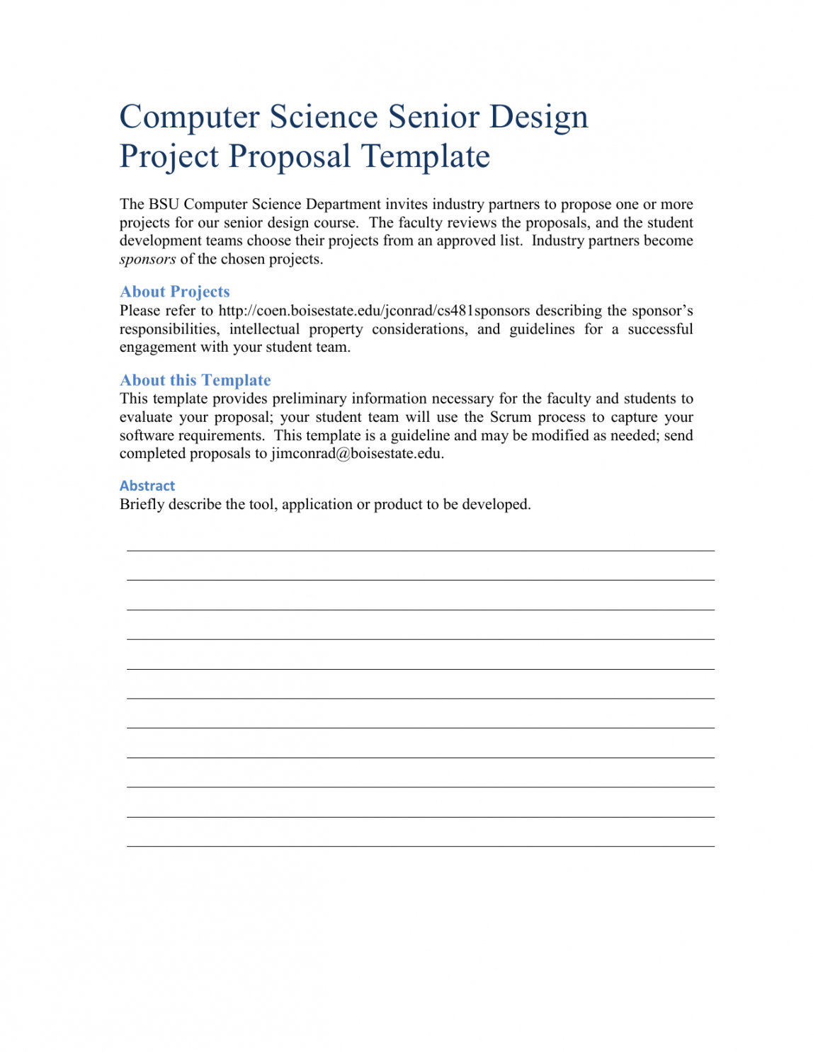 free computer science senior design project proposal template senior design project proposal template doc