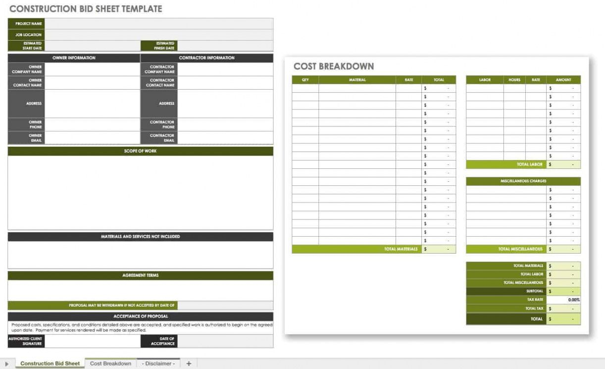 free construction bid templates  smartsheet pre construction proposal template excel
