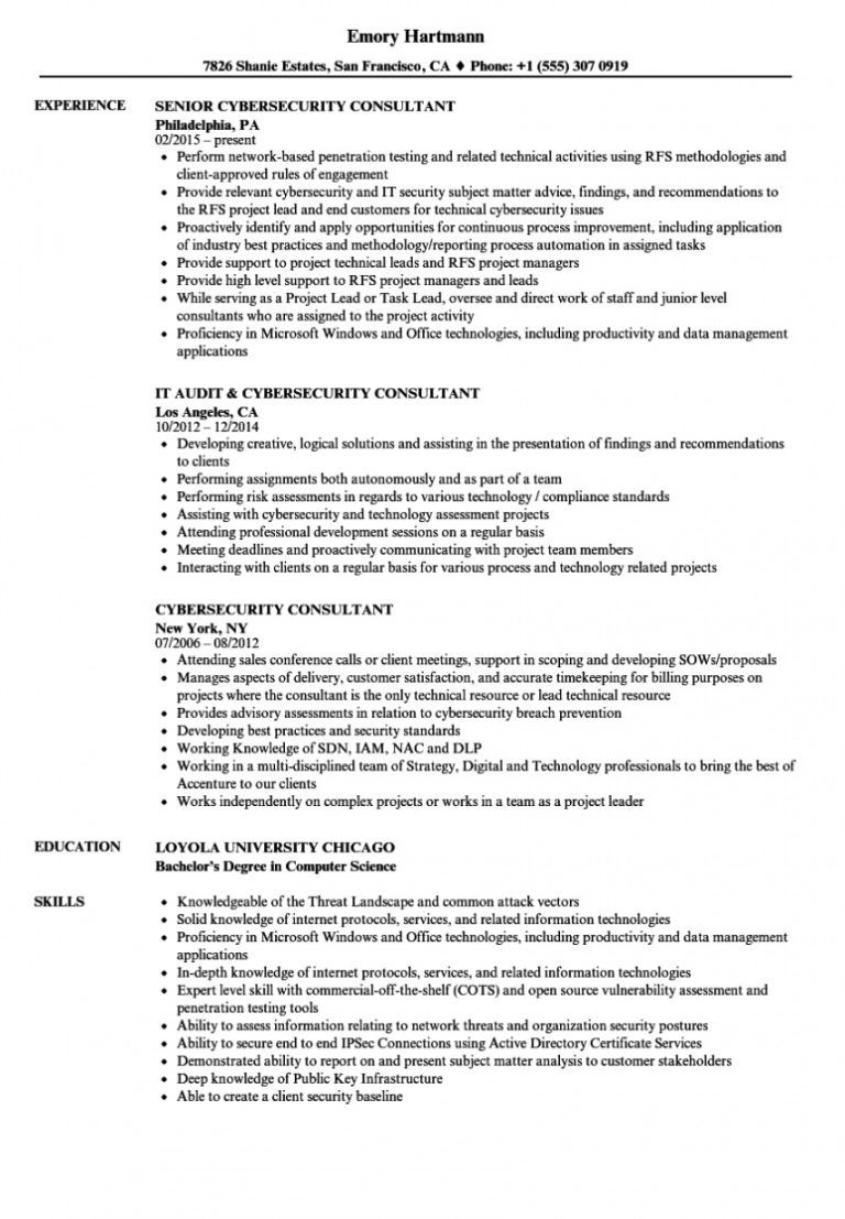 free cybersecurity consultant resume samples velvet jobs