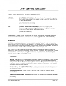 free joint venture agreement template  by businessinabox™ venture capital proposal template pdf