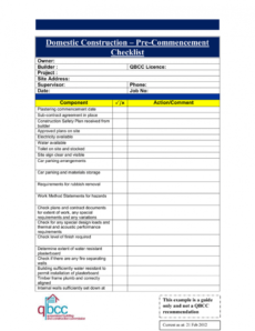free precommencement checklist pre construction proposal template pdf