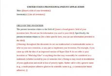 free provisional patent example template  chhabra law patent proposal template example
