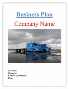 free trucking transport business plan template sample pages trucking proposal template doc