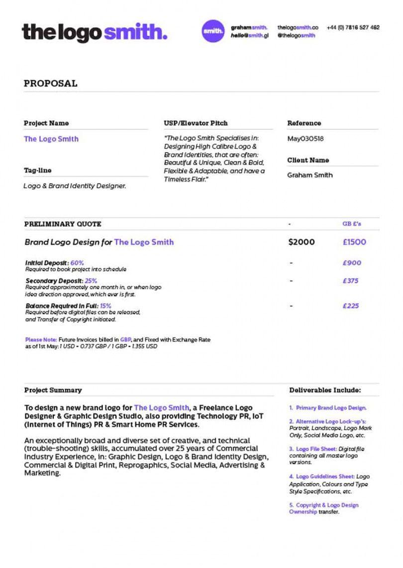 graphic design proposal template  sample pdf  bonsai freelance graphic designer proposal template word