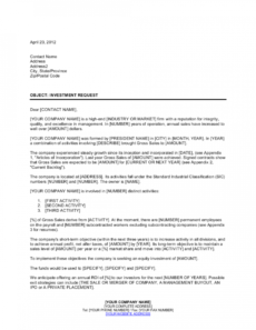 letter of request for an equity investment template  by venture capital proposal template pdf
