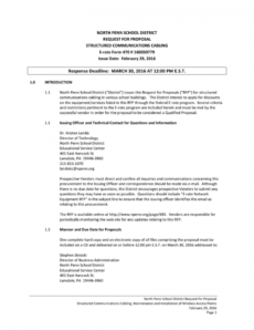 north penn school district request for proposal structured structured cabling proposal template example