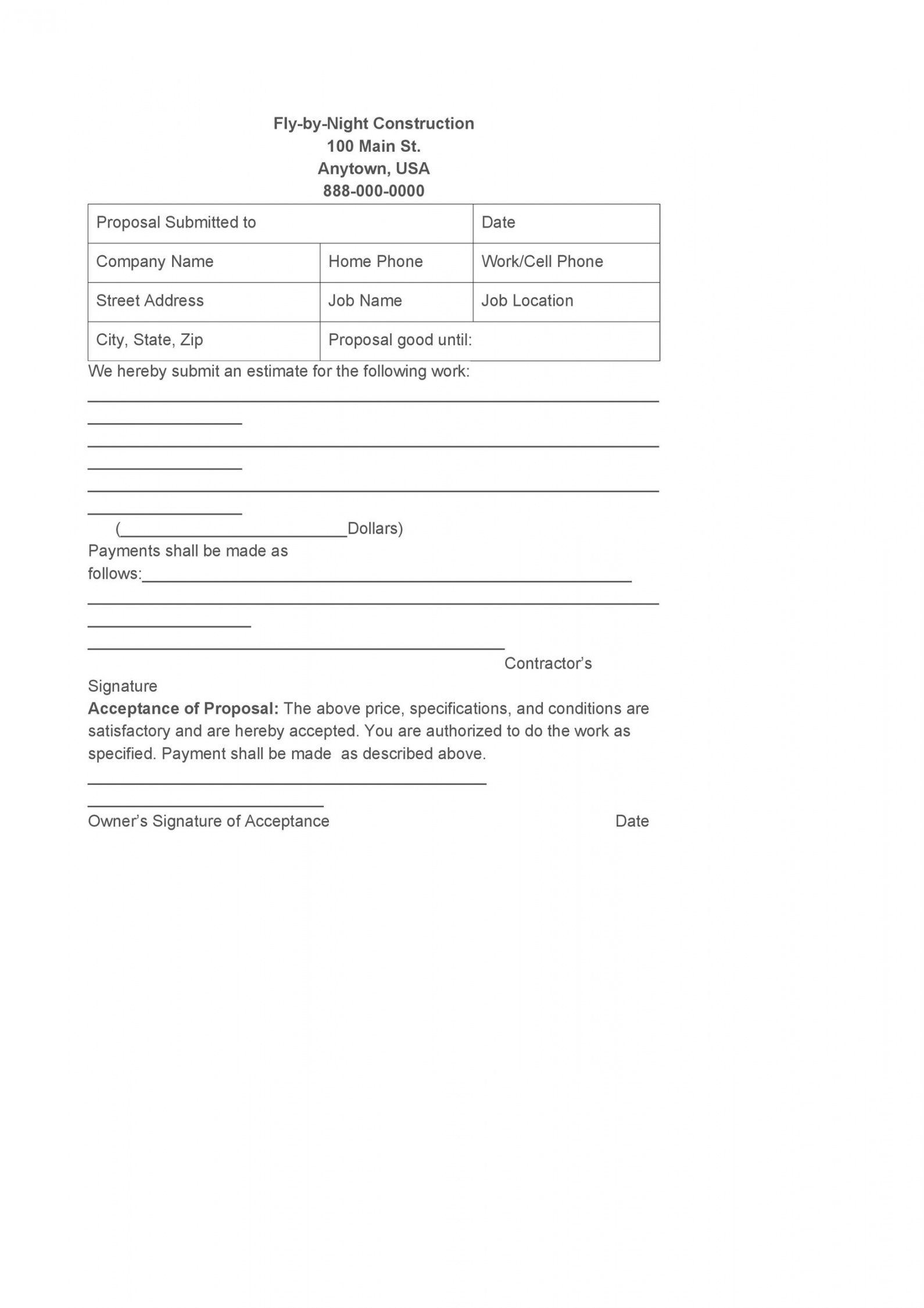 printable 31 construction proposal template & construction bid forms proposal template for construction work doc