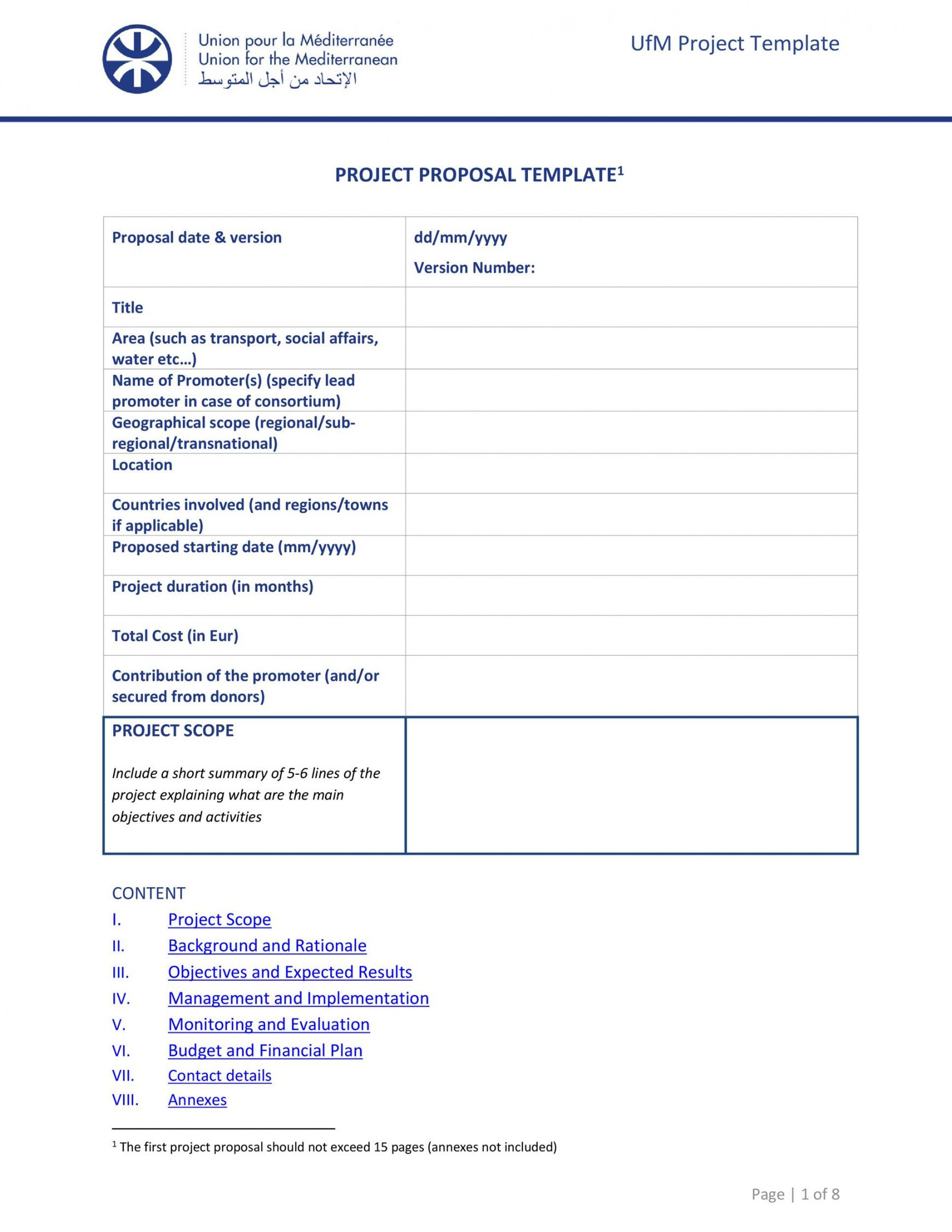 printable 43 professional project proposal templates  templatelab project management proposal template excel