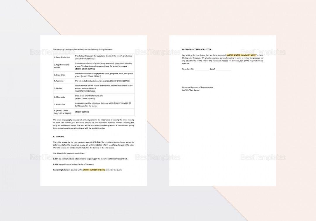 printable event photography proposal sample wedding photography proposal template pdf