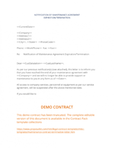 printable maintenance contract termination letter  3 easy steps software maintenance proposal template excel